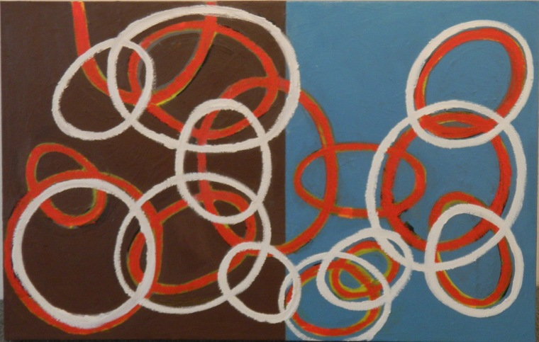 Red and White Ovals Over a Color Field